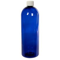 32 oz. Cobalt Blue PET Cosmo Round Bottle with Plain 28/410 Cap