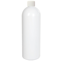 32 oz. White PET Cosmo Round Bottle with Plain 28/410 Cap