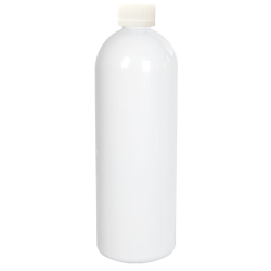 32 oz. White PET Cosmo Round Bottle with CRC 28/410 Cap