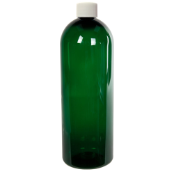 32 oz. Dark Green PET Cosmo Round Bottle with Plain 28/410 Cap