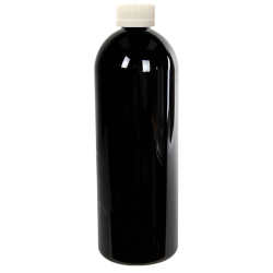 32 oz. Black PET Cosmo Round Bottle with CRC 28/410 Cap