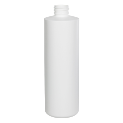 16 oz. White HDPE Cylindrical Sample Bottle with 28/410 Neck (Sprayer or Cap Sold Separately)