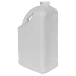 128 oz. White HDPE PCR Slant Handle Jug with 38/400 Plain Cap
