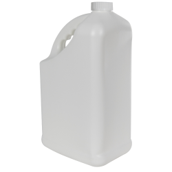 128 oz. White HDPE PCR Slant Handle Jug with 38/400 CRC Cap