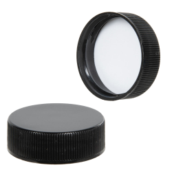 33/400 Black Polypropylene Ribbed Smooth Cap with F217 Liner