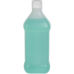 16 oz. Natural HDPE Oval Rubbing Alcohol Bottle with 28/410 Plain Cap with F217 Liner