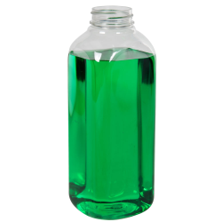 20 oz. Clear PET French Square Bottle with 38/400 Neck (Cap Sold Separately)