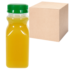 8 oz. Clear PET Square Bottles with 43mm Tamper Evident Caps - Case of 184