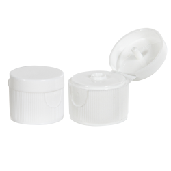 """20/410 White Ribbed Snap-Top Dispensing Cap with 0.095"""" Orifice"""