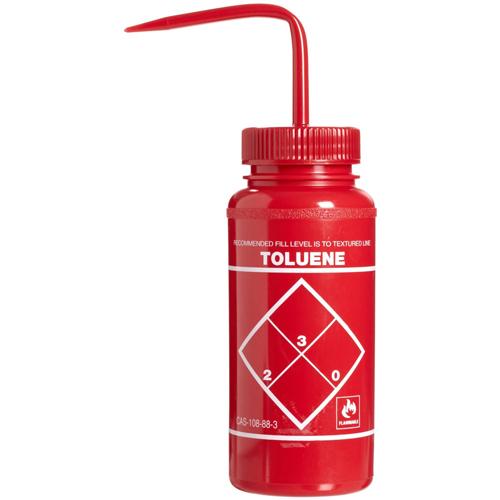 16 oz. Toluene Wash Bottle with 53mm Red Cap