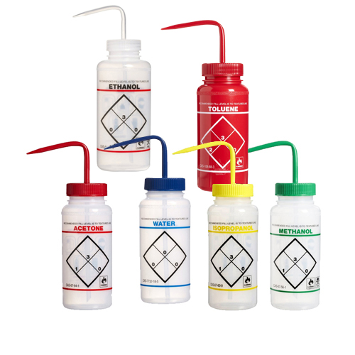 16 oz. Wash Bottle Assortment Pack (Acetone, Ethanol, Methanol, Isopropanol, Toluene & Water)