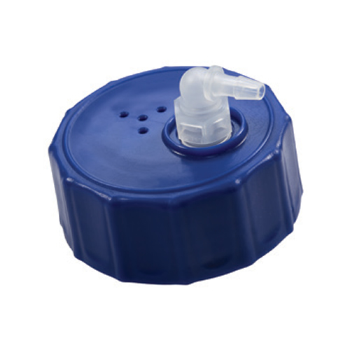 "GL45 HDPE Cap with 1/4"" Hose Barb PP Elbow"