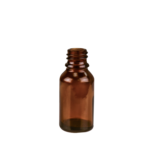 15mL/1/2 oz. Amber Glass Boston Round Bottle with 18mm Neck (Cap & Reducer Sold Separately)