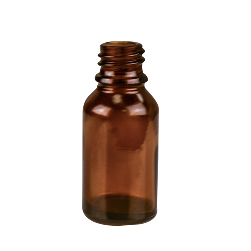 30mL/1 oz. Amber Glass Boston Round Bottle with 18mm Neck (Cap & Reducer Sold Separately)
