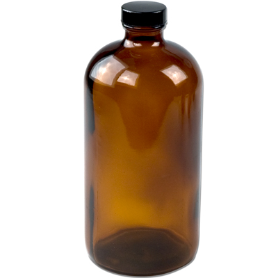 32 oz. Amber Boston Round Glass Bottles with 33/400 P Caps