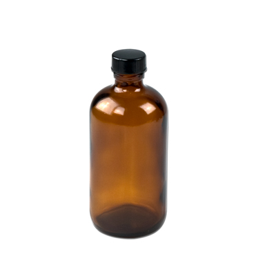 8 oz. Amber Boston Round Glass Bottles with 24/400 Polycone-lined Caps