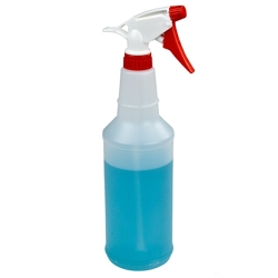 32 oz. Round Spray Bottle with 28/400 Red & White Sprayer
