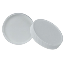 89/400 White Polypropylene Ribbed Cap with F217 Liner