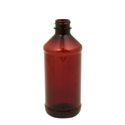 8 oz. Modern Round Amber PET Bottle with 24/400 Neck (Cap Sold Separately)