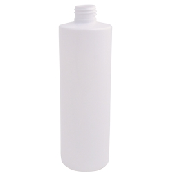 12 oz. White PET Cylinder Bottle with 24/410 Neck (Cap Sold Separately)