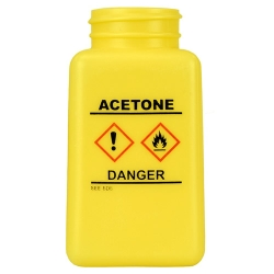 6 oz. DurAstitic™ Yellow HDPE Bottle with Acetone HCS Label  (Pump Sold Separately)