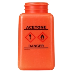 6 oz. DurAstitic™ Orange HDPE Bottle with Acetone HCS Label  (Pump Sold Separately)