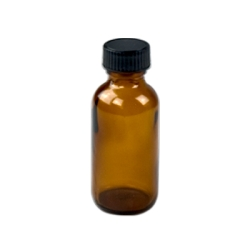 1 oz. Amber Boston Round Glass Bottles with 20/400 Polycone-lined Caps