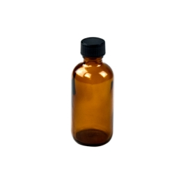 2 oz. Amber Boston Round Glass Bottles with 20/400 P Caps