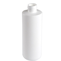 8 oz. White HDPE Cylinder Bottle with 24/410 Neck & Round Bottom(Cap Sold Separately)