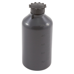500mL Kartell LDPE Graduated Narrow Mouth Gray Bottle with Cap