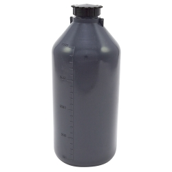 2000mL Kartell LDPE Graduated Narrow Mouth Gray Bottle with Cap