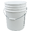 UN Rated White 5 Gallon Bucket w/Metal Handle & Lid w/Rieke Pour Spout