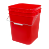 red 4 gallon square bucket
