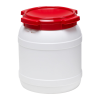 4 Gallon White UN Rated HDPE Wide Mouth Drum with Red Lid - Stackable