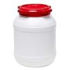 6.9 Gallon White UN Rated HDPE Wide Mouth Drum with Red Lid - Stackable