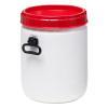9 Gallon White UN Rated Open Drum with Red Lid & Hand Grip