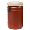 19.8 Gallon Brown UN Rated Open Drum with Beige Lid & Hand Grip