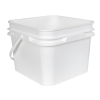 2 Gallon/8L 30 Series White HDPE Square Pail with Handle