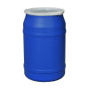 55 Gallon Blue Straight Sided Open Head Poly Drum with Plain Lid & Plastic Lever-Locking Ring