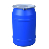 """55 Gallon Blue Straight Sided Open Head Poly Drum with 2"""" & 2"""" Bungs Lid & Metal Bolt Ring"""