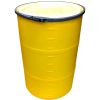 "55 Gallon Yellow Open Head Drum 25.625"" Dia w/Band x 35"" H"