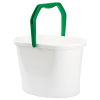 White 3.5 Gallon Oval Utility Bucket with Green Handle