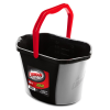 Black 3.5 Gallon Oval Utility Bucket with Red Handle