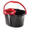 Black 4 Gallon Clean & Rinse Bucket with Wringer & Red Handle