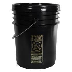 UN Rated Black 5 Gallon Bucket w/Metal Handle & Lid w/Rieke Pour Spout
