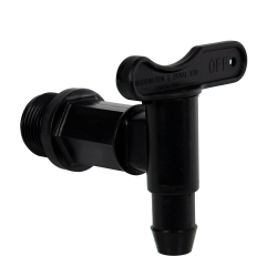 "3/4"" Black Long Thread Water Butt Tap with Gasket"