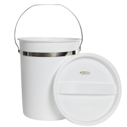 8 Quart White LDPE Pail with Handle & Lid
