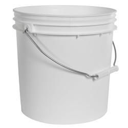 2 Gallon Economy White Round Bucket with Wire Bail & Plastic Grip