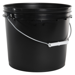 2 Gallon Economy Black Round Bucket with Wire Bail & Plastic Grip