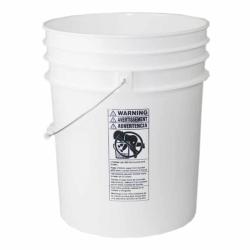 Premium White 5 Gallon Round Bucket with Wire Bail & Plastic Grip